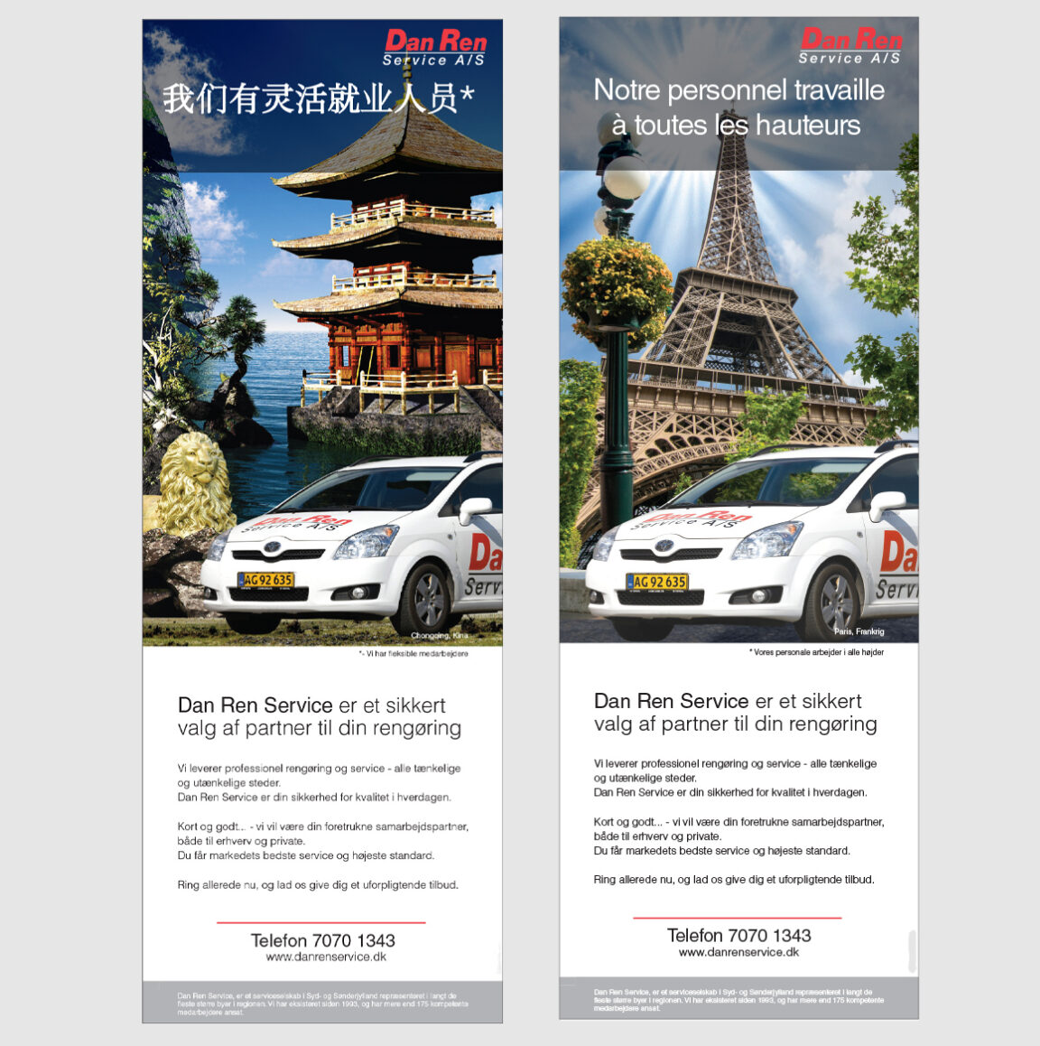 Dan-Ren-Service-profil annonce Frankrig, Kina Linda Kongerslev Grafisk Design