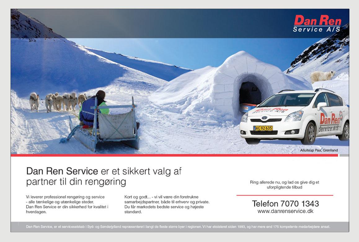 Dan-Ren-Service-profil annonce-Grønland-Linda Kongerslev Grafisk Design